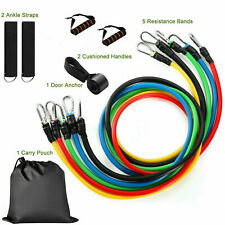 11PCS Set Resistance Bands Workout Exercise Crossfit Fitness Yoga Training Tubes