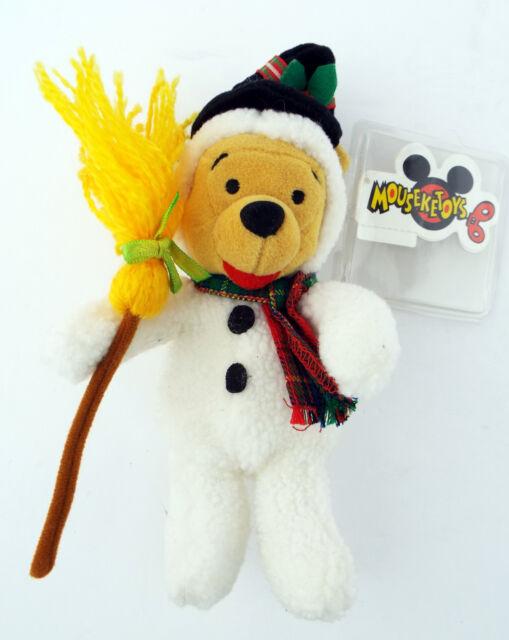 NWT WINNIE THE POOH Snowman Plush Bean Bag Toy Disney Store