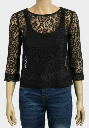 Ex Chain Store Black Sheer Lace Crochet Filles Party Top manches 3//4 6 8 10 12 Neuf