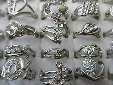 Wholesale & Job Lots 36 Rings In A Box Diamante Crystal Silver Plated 12 - 19