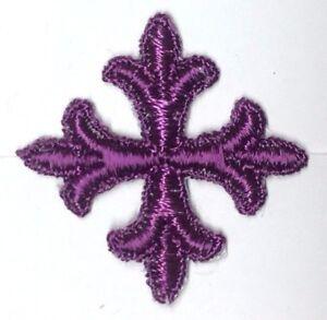 Frances-Cruz-Fleury-1-034-Bordado-para-Coser-Purpura-C-Emblema-Parche-12-Piezas
