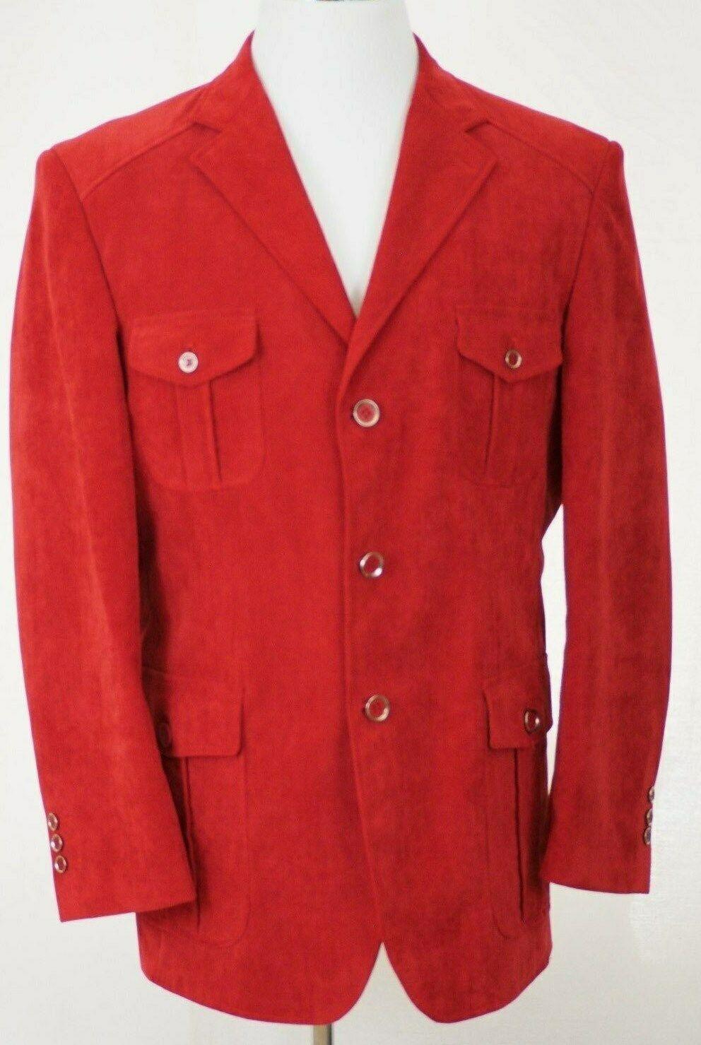 Men's Italian Style INSERCH Red Velvet Jacket Bla… - image 1