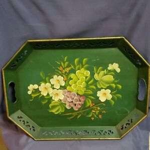 Mid-Century Tin Toleware Tray Etched Floral Design Handpainted Tole