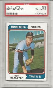 SET-BREAK-1974-TOPPS-98-BERT-BLYLEVEN-PSA-8-NM-MT-HOF-TWINS-CENTERED