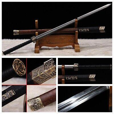 "100% HANDMADE CHINESE SWORD ""HAN JIAN ""(劍)PATTERN STEEL RAZOR SHARP BATTLE READY"