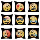 Reversible Emoji Decorative Pillow Case Sequin Cushion Home Office Sofa Decor