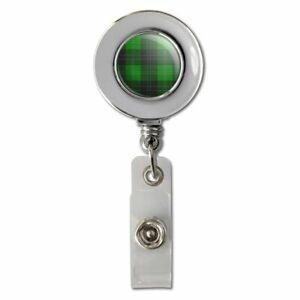 Plaid-Green-Gray-Grey-Pattern-Retractable-Reel-Chrome-Badge-ID-Card-Holder-Clip