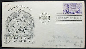 US-Aristocrats-Cachet-Cover-FDC-Newspaperboys-Stamp-3c-USA-First-Day-H-7403