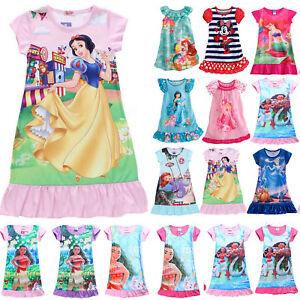Girls Nightdress Nightie Pyjamas Cotton Short sleeve Nightwear Age 2-13 Years