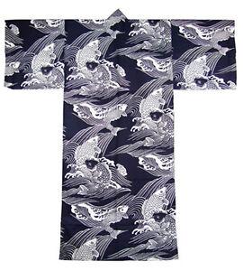 Japanese-Yukata-Kimono-Robe-Sash-Belt-Men-61-034-Cotton-Carp-Koi-Navy-Made-in-Japan