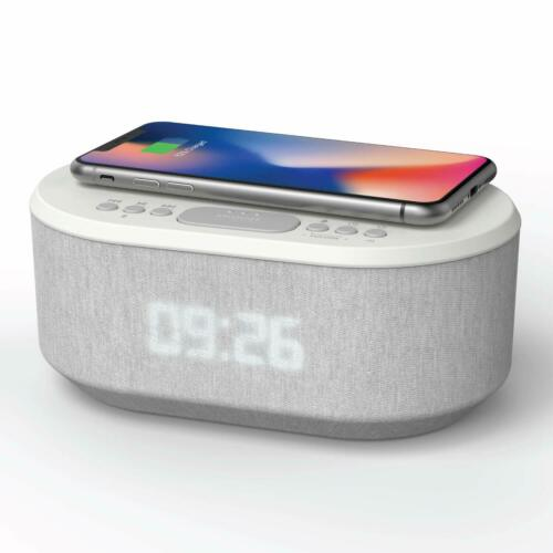 Designer Radiowecker Uhrenradio USB Bluetooth Induktives Laden AIC 18 BT weiss