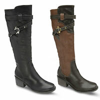 New Womens Ladies Dolcis Winter Buckle Zip Up Knee High Riding Boots Size UK 3-8