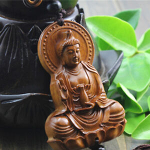 Chinese-Kwan-Yin-Buddha-Jujube-Wood-Carving-Red-Statue-Sculpture-Car-Pendant