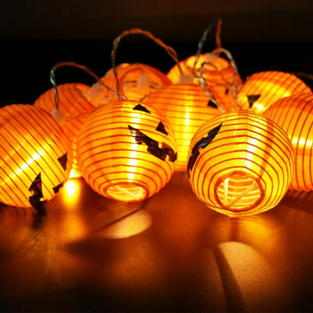 10 Led Pumpkin String Lights Lantern Party Home Props Decoration New