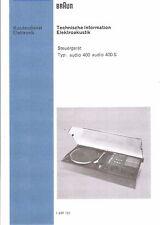 Braun Service Manual für Audio 400 - 400 S