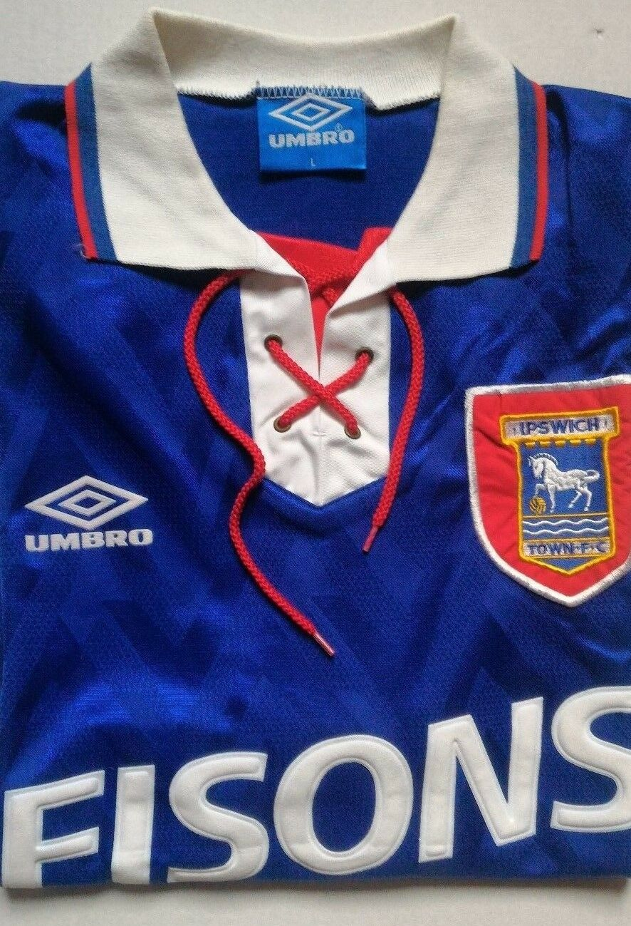 UMBRO  MAGLIA IPSWICH TOWN  IPSWICH TOWN HOME JERSEY '92'94  VINTAGE