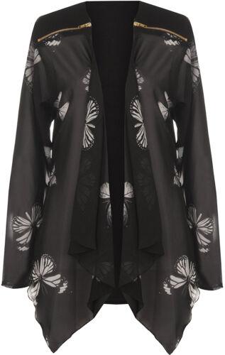 Womens Butterfly Print Chiffon Mesh Cardigan Plus Size Printed Cardigan UK14-28