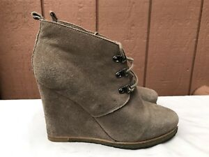 30097a7b277 Details about Steve Madden Tanngoo Suede Wedge Booties Size US 9.5 Ankle  Boots Beige Lace Up