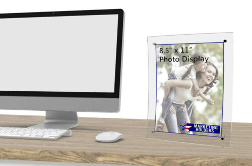 """Sign Holder Picture Frame Curved 8.5/""""W X 11/""""H Counter Top Clear Acrylic"""
