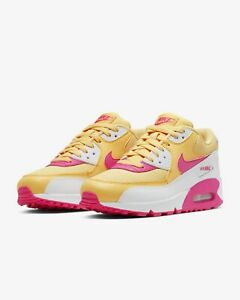 Details zu 325213 702 Women's Nike Air Max 90 Casual Shoes GoldWhite Fuchsia Sz 6 10 NIB