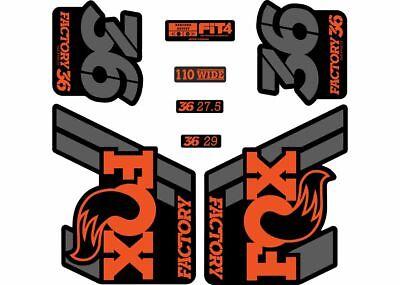 FOX 34 2021 Factory Forks Suspension Decals Sticker Adhesive Set Orange Black