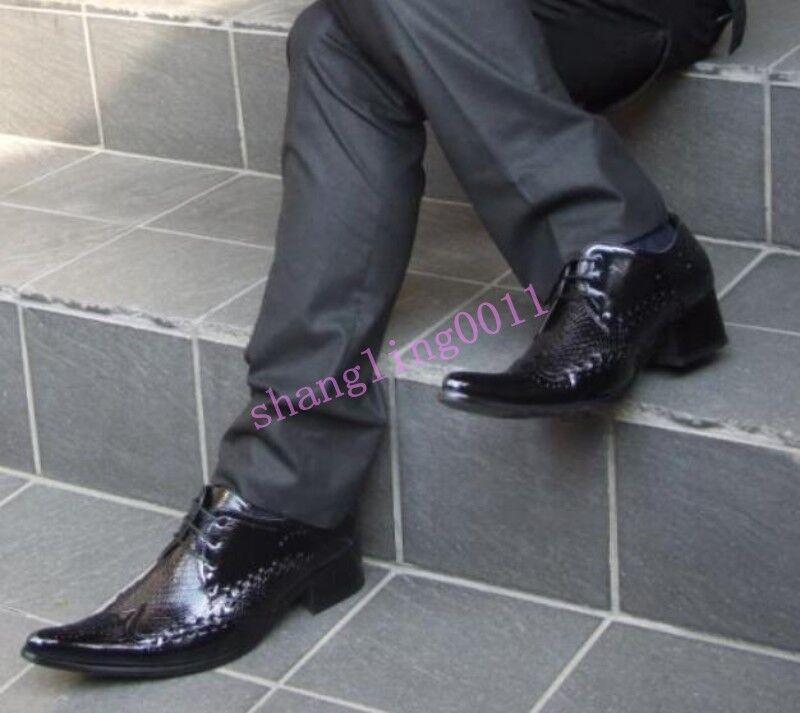 Uomo Autumn Pointy toe Lace up Formal Dress Business heels Stylish Scarpe Pumps