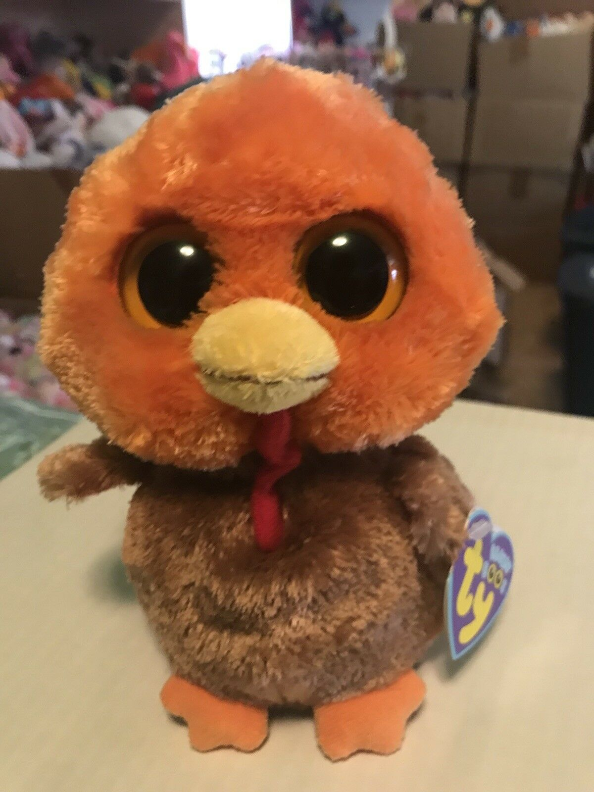 "Ty GOBBLER -orange Brown Red Thanksgiving Turkey 6"" Beanie Boo  Retired RARE"