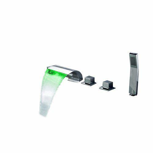 Modern Tub Deck Mount LED Waterfall Roman Bathtub Faucet /& Handshower in Chrome