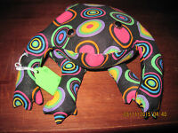 Home Decor....poly Bead/poly Filled Toads Black W/ Multi Color Circles...