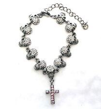 Butler and Wilson Clear Crystal 11 Skull & Cross HALLOWEEN Bracelet NEW
