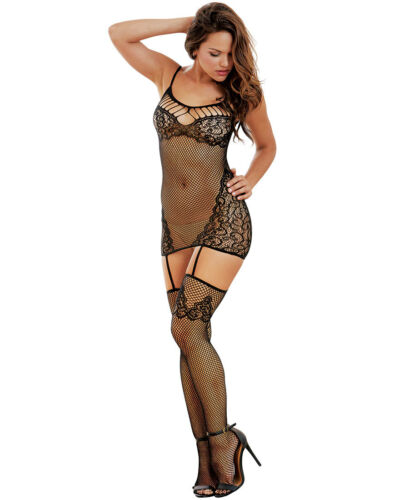 Fishnet And Lace Garter Dress With Stockings Dreamgirl 0263