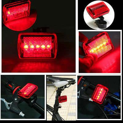 Red 5 LED Bicycle Rear Tail Light Bike Cycle Warning Lamp 7 Modes Super Bright