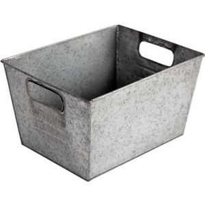 Delightful Image Is Loading Silver Small Galvanized Metal Storage Bin Home Organizer