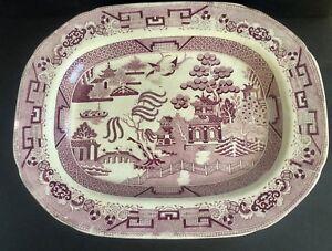 Antique-Staffordshire-Transferware-Purple-White-Blue-Willow-Large-Platter