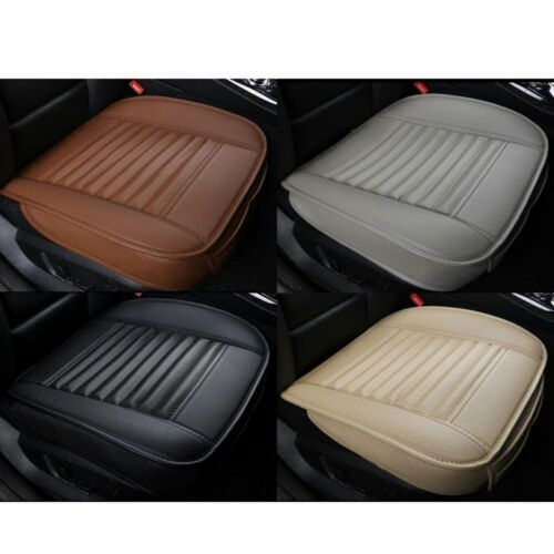 Black PU Leather Car Seat Cover Full Set Front Rear Seat Cushion Pads Protector