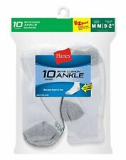 20 Pairs Hanes Boys EZ Sort Fitted Cushioned Cotton Ankle Socks White