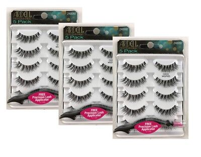 3 x Ardell Lashes Demi Wispies 5 Pack with Precision Lash Applicator