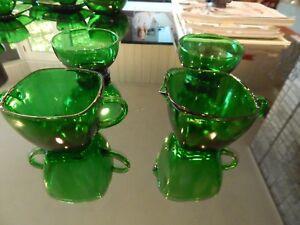 GREAT CHRISTMAS 4 pcs Anchor Hocking Forest Green Charm Sugar Creamer & 2 Bowls