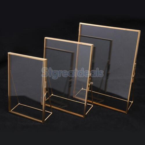 Antiqeu Glass Freestanding Picture Photo Frame Portrait Holder Home Table Decor