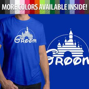 Groom-Disney-Wedding-Marriage-Honeymoon-Disneyland-Mens-Crew-Neck-Tee-T-Shirt