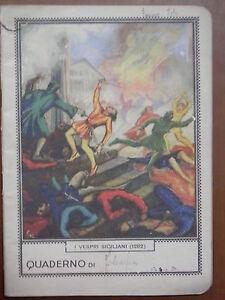 Vecchio-quaderno-scolastico-epoca-fascista-I-VESPRI-SICILIANI-MASCO-1282-filosof