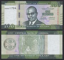 Liberia 100 Dollars  2016  Pick New   SC = UNC