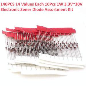 140tlg-14Werte-1W-3-3V-30V-Zenerdiode-Diode-Dioden-Sortiment-Kit-Neu
