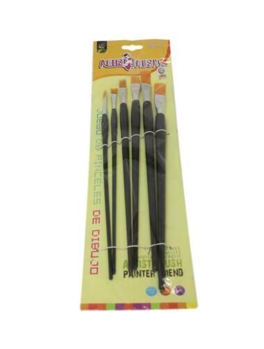6 x Puntas Artista Cepillo Conjunto Pequeño//Grande Cepillos de pintura artística delgadas//gruesas detallada