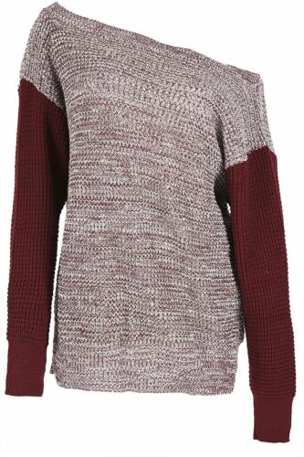 Womens Oversized Off Shoulder Rib Knit Jumper Chunky Knitted V Neck Bardot Top