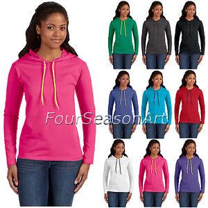 Anvil-Ladies-039-Lightweight-Long-Sleeve-Hooded-T-Shirt-Womens-S-2XL-887L