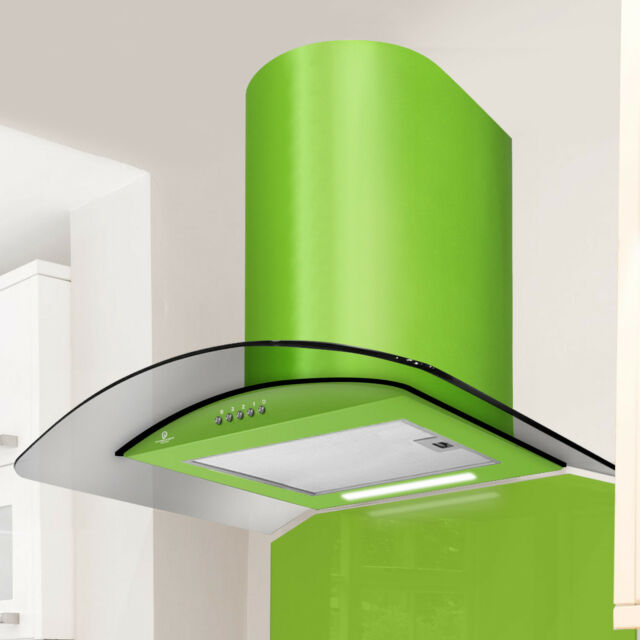 60cm  Curved Smoked Glass Cooker Hood in Lime Green - PRX60LG GRADED