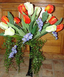Interior Home Tulips Silk Flower Arrangement Black Vase Orange Cream Lavender