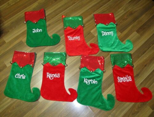 """Christmas Stocking 18/"""" Elf Style In Red Or Green Personalized With Glitter Name"""