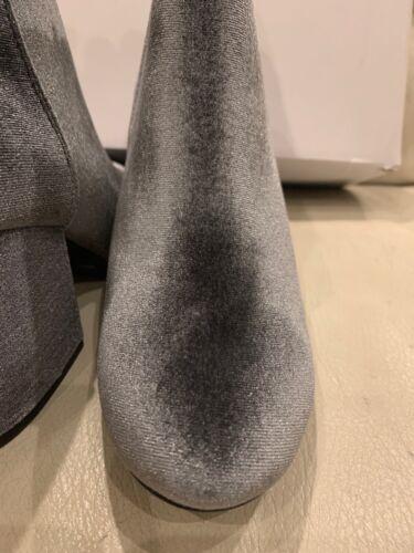 $125 ALDO MASEN WOMEN/'S 8.5 ANKLE BOOTS BLOCK HEELS SILVER GRAY VELVET BOOTIES